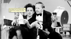 Judy Garland and Mickey Rooney put their heads together over a TV script for their first onstage reunion in 18 years in this 1963 photo.