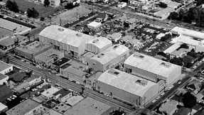 An aerial shot of the Desilu Stages in Hollywood in the 1960s