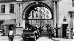 "The famous entry gate to Paramount Pictures as seen in the 1950 film, all about the studio system, ""Sunset Blvd."""